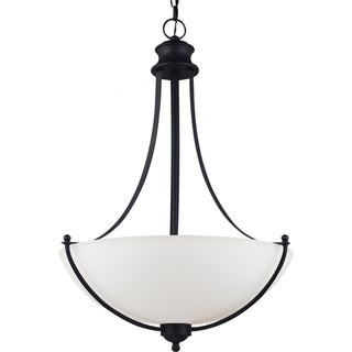 Uptown 3-light Blacksmith Uplight Pendant with Satin Etched Glass