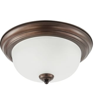 Holman 1-light Bell Metal Bronze Flush Mount with Satin Etched Glass