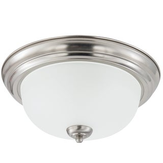 Holman 1-light Brushed Nickel Flush Mount with Satin Etched Glass