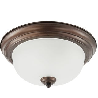 Holman Three-Light Bell Metal Bronze Flush-Mount Fixture with Satin-Etched Glass