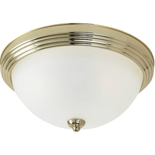 Close to Ceiling 1-Light Polished Brass Flush Mount Fixture