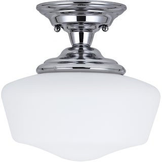 Academy 1-light Chrome Small Semi-Flush Mount with Satin White Schoolhouse Glass