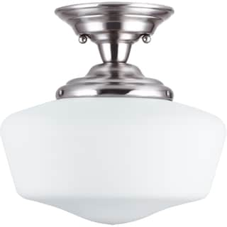 Academy 1-light Brushed Nickel Medium Semi-Flush Mount with Satin White Schoolhouse Glass