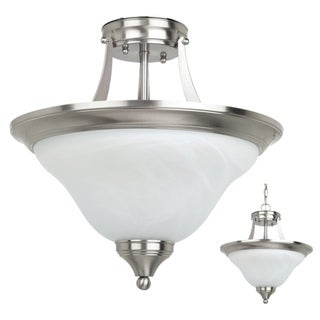 Brockton Brushed Nickel 2-Light Indoor Semi-Flush Convertible Fixture