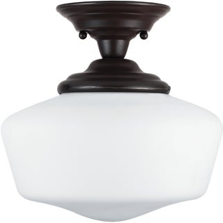 Academy 1-light Heirloom Bronze Small Semi-Flush Mount with Satin White Schoolhouse Glass