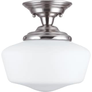 Academy 1-light Brushed Nickel Small Semi-Flush Mount with Satin White Schoolhouse Glass