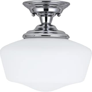 Academy One-light 60-Watt Chrome Medium Semi-Flush Mount with Satin White Schoolhouse Glass