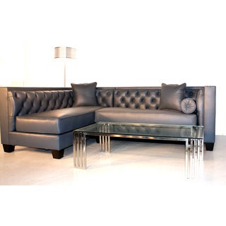 Decenni Custom Furniture 'Tobias' Monte Carlo Slate Leather Sectional Sofa