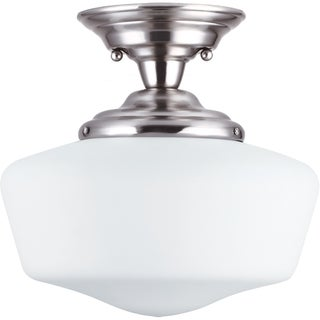 'Academy' Brushed Nickel 1-Light Semi Flush Fixture
