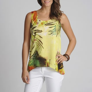 threehearts Women's Palm Leaves Printed Top
