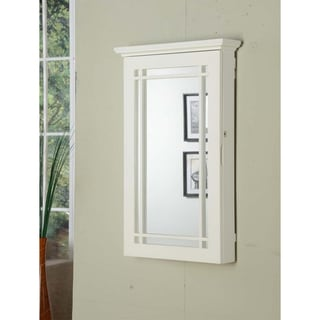 White Wall-mount Jewelry Armoire with Lock
