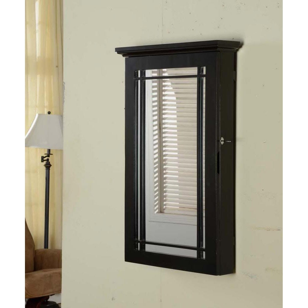 Black Wall-mount Jewelry Armoire with Lock - Overstock ...