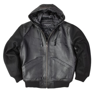 United Face Boys Black Leather Hooded Bomber Jacket with Wool Sleeves