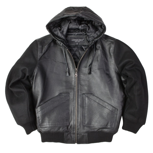 United Face Boys Black Leather Hooded Bomber Jacket with Wool Sleeves Medium Size in Black (As Is Item)
