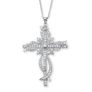 Ultimate CZ Silvertone Cubic Zirconia Cross Necklace