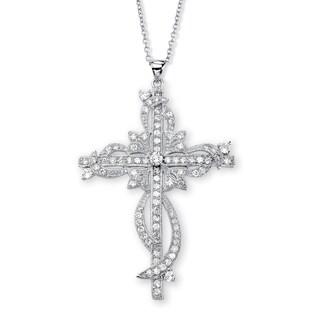 "PalmBeach 3.12 TCW Round Cubic Zirconia Cross Pendant Necklace in Silvertone 18"" Glam CZ"