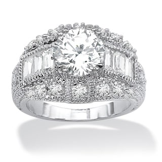 Ultimate CZ Silvertone Brass Cubic Zirconia Ring