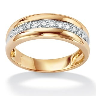 PalmBeach Gold/ Silver Men's 1/5ct TDW Diamond Band (H-I, I2-I3)