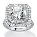Ultimate CZ Platinum over Silver Round-cut Cubic Zirconia Ring