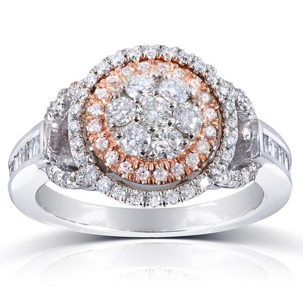 Annello 14k Rose/White Gold 4/5ct TDW Baguette Side Diamond Ring (H-I, I1-I2)