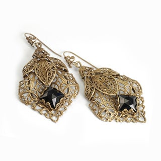 Sweet Romance Bronzetone Black Glass Filigree Leaf Earrings