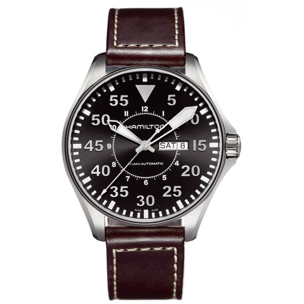 Hamilton Men's 'Khaki Pilot' Brown Leather Strap Watch