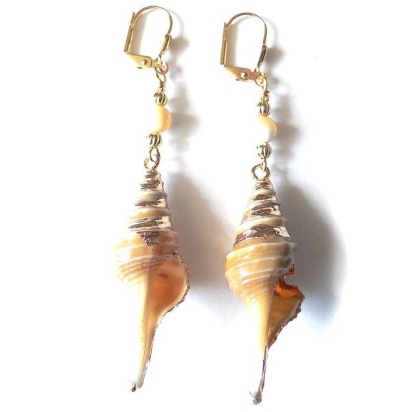 'Sandy' Shell Dangle Earrings