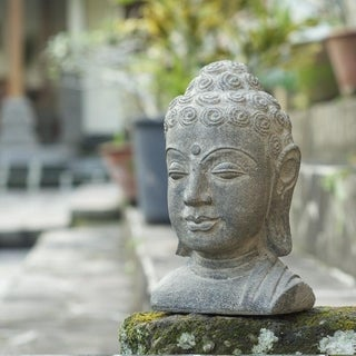 Volcanic Stone Small Buddha Head Stonewashed Statue (Indonesia)