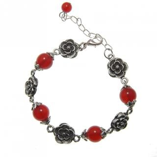 Handmade Miao Silver Rose Agate Bracelet (China)