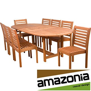 'Amelia' Eucalyptus Wood 9-piece Extendable Outdoor Dining Set