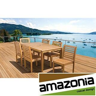 'Amelia' Eucalyptus Wood 7-piece Outdoor Dining Set