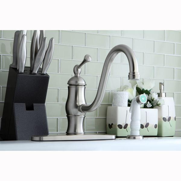 Vintage Satin Nickel Centerset Kitchen Faucet with Side Sprayer