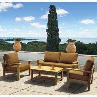 Amazonia Teak San Francisco Deluxe 4-piece Deep Seating Set with Sunbrella Cushions