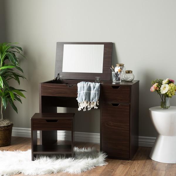 Furniture of America Laurel Multi-Storage Vanity Table with Mirror and Stool