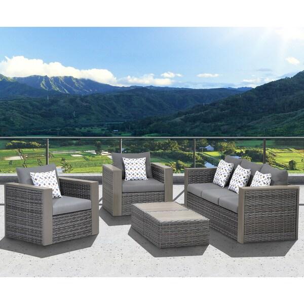 Atlantic Freeport 5 piece Patio Conversation Furniture Set Overs