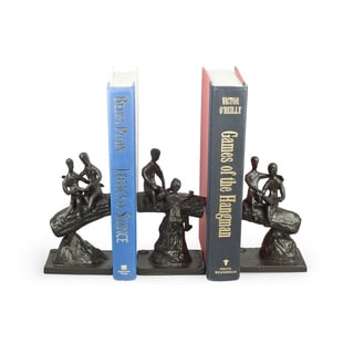 Children on a Tree Trunk Metal Bookend Set - 3 Pc