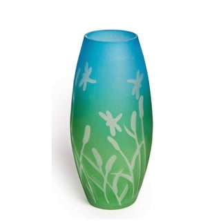 Oval Cattails and Dragonflies Glass Vase