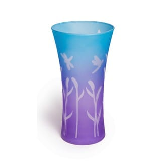 Fluted Cattails and Dragonflies Glass Vase
