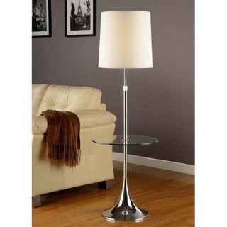 Artiva USA Enzo Modern Adjustable 52 to 65-inch Chrome Floor Lamp with Tempered Glass Table