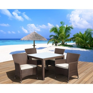 Atlantic Liberty Brown Square 5-piece Wicker Outdoor Dining Set with Off-white Cushions