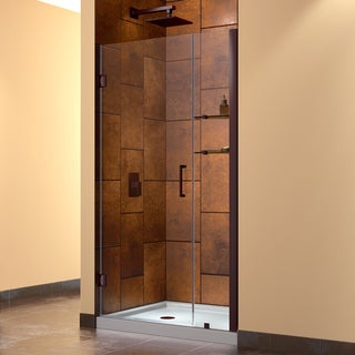 DreamLine Oil Rubbed Bronze Unidoor 36-37-inch Frameless Hinged Clear Shower Door