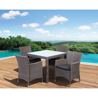 Atlantic Liberty Grey Square 5-piece Outdoor Wicker Dining Set with Grey Cushions
