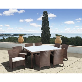 Atlantic Grand Liberty Deluxe 9-piece Square Brown Wicker Dining Set