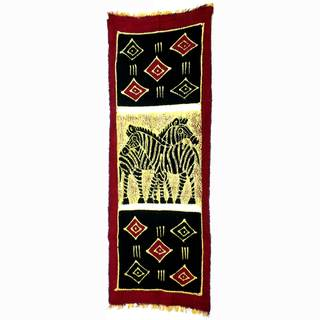 Hand-painted Vertical Zebras with Diamonds Batik (Kenya)