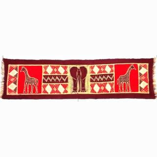 Handpainted Horizontal Maroon Elephant with Giraffes Batik (Kenya)