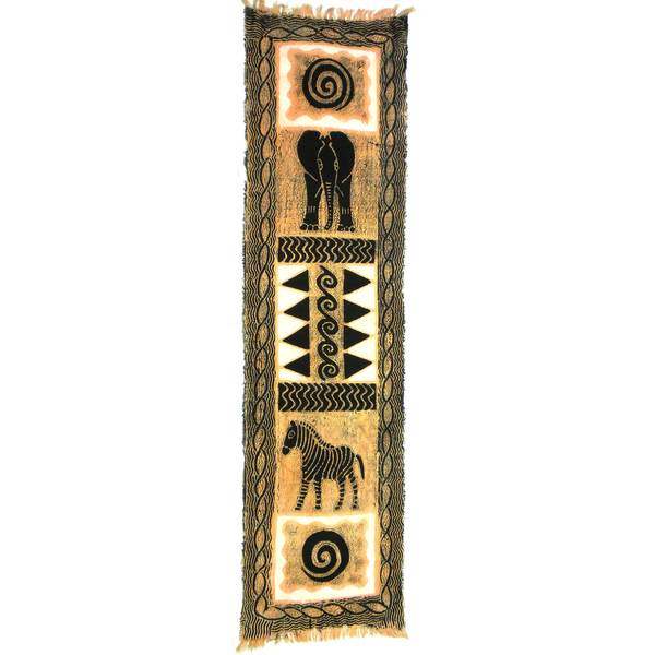 Handpainted Vertical Black and Cream Elephant Batik (Kenya)