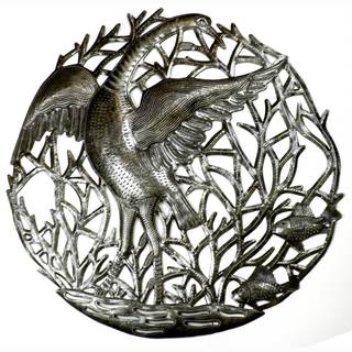 Handmade Single Crane Metal Art- 24 inches (Haiti)