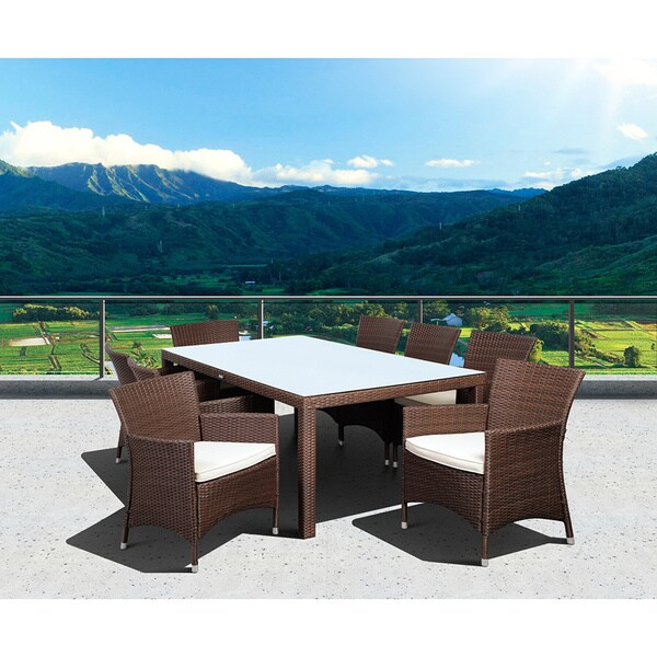 Atlantic Grand Liberty Deluxe 9-piece Brown Wicker Rectangular Dining Set with Off-white Cushions