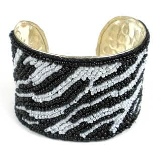 Handmade Zebra Animal Pattern Cuff (India)