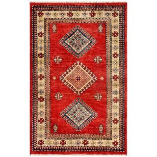 Herat Oriental Afghan Hand-knotted Kazak Red/ Ivory Wool Rug (2'11 x 4'10)